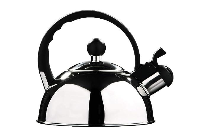 Premier Housewares - Tetera hervidor con Silbato (Acero Inoxidable, 1.0 L) Acabado Espejo.