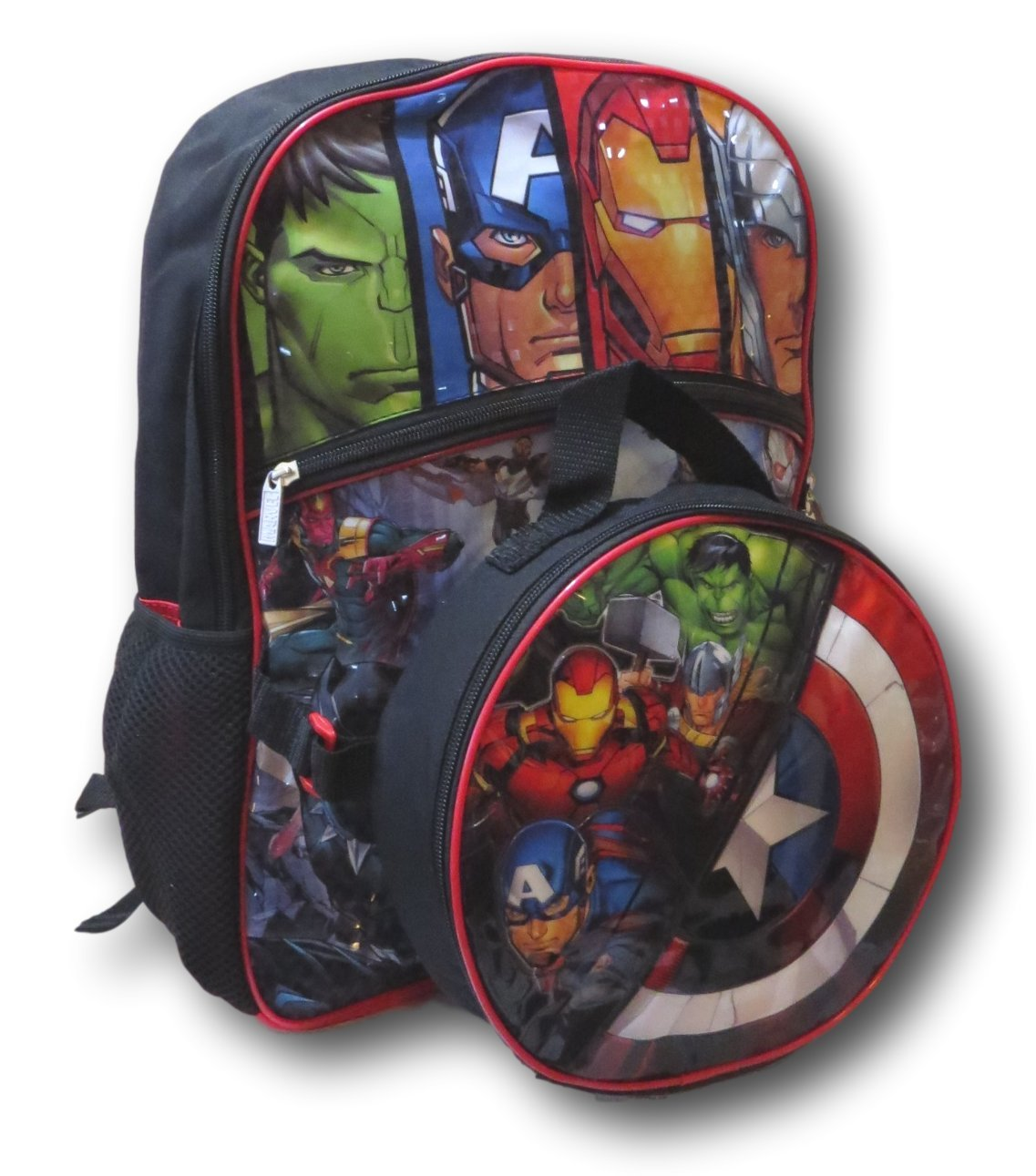 Marvel Avengers Backpack with Detachable Captain America Shield Shaped Insulated Lunch Bag