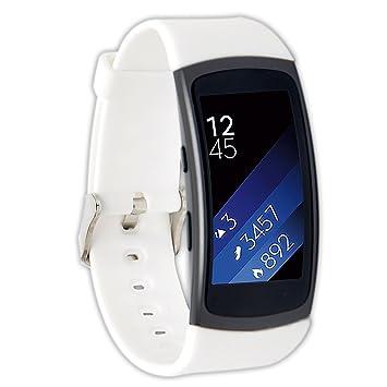 Greatfine Silicona Muñequera de Repuesto Reemplazo Deportes Wristband Correa de Reloj Pulsera para Samsung Gear Fit2 Accessory Reloj Band (White): ...