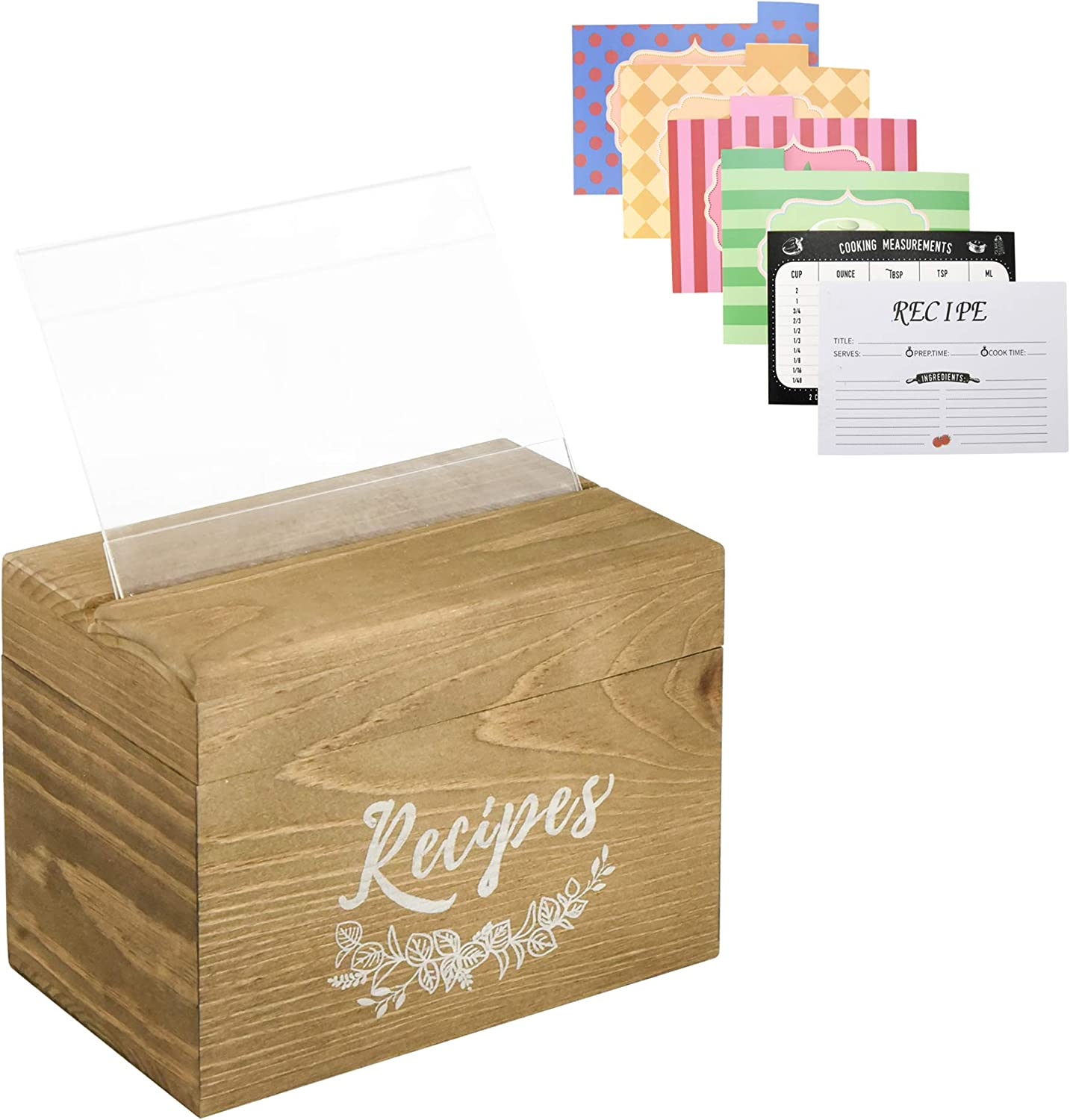 Vintage Wood Recipe Box with 80 Double Sided Recipe Cards 4x6 and 8 Dividers, Farmhouse Recipe Organizer For Mother's Day gift, Wood Recipe Card Box Holder for Bridal Shower and Weddings(Light Brown)