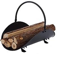 "Aboniris Fireplace Log Holder Basket, All Black, 19"" Long, Firewood Carrier"