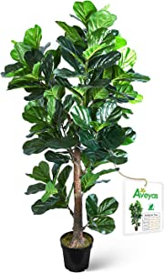 Aveyas 6ft Artificial Fiddle Leaf Fig Tree in Plastic Nursery Pot, Ficus Lyrata Fake Tropical Plant for Office House Living Room Home Decor (Indoor/Outdoor)