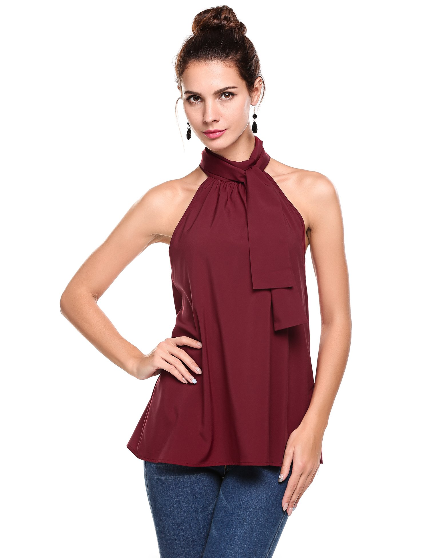 Meaneor Women's Summer Chiffon Sleeveless Office Blouse Tank Shirt Halter Neck Tie Back Solid Tops Wine Red