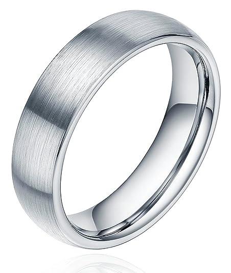 a basso costo 1add2 ad031 Anello in titanio spazzolato, fede nuziale per uomo e donna, 6 mm, modello  confortevole, misura J-Z4.