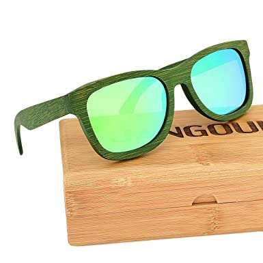 6c5f0e7c89 Image Unavailable. Image not available for. Colour  Polarized Green Natural Bamboo  Frame Sunglasses with UV400 Lens JANGOUL