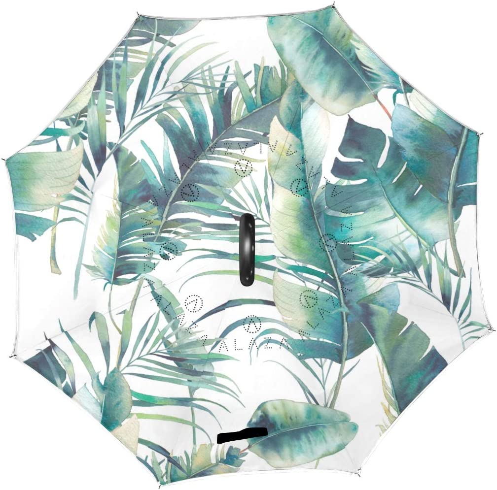 Summer Palm Tree And Banana Leaves Pattern Double Layer Windproof UV Protection Reverse Umbrella With C-Shaped Handle Upside-Down Inverted Umbrella For Car Rain Outdoor