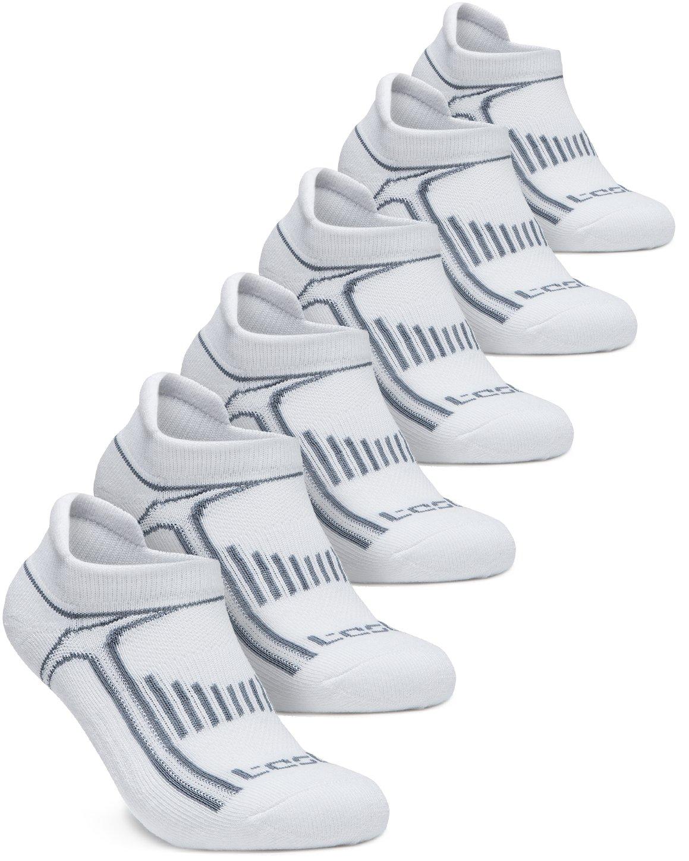 Tesla TM-MZS05-THW_Large Men's 6-Pairs Atheltic No Show Socks Cushioned Comfort w Mesh MZS05