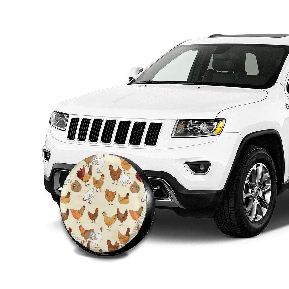 Bag hat Chicken Tire Cover Polyester Universal Spare Wheel Tire Cover Wheel Covers Jeep Trailer RV SUV Truck Camper Travel Trailer Accessories 15 inch