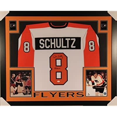 b9e3602c9 Autographed Signed Dave Schultz Hammer 35X43 Framed Flyers Jersey JSA Coa