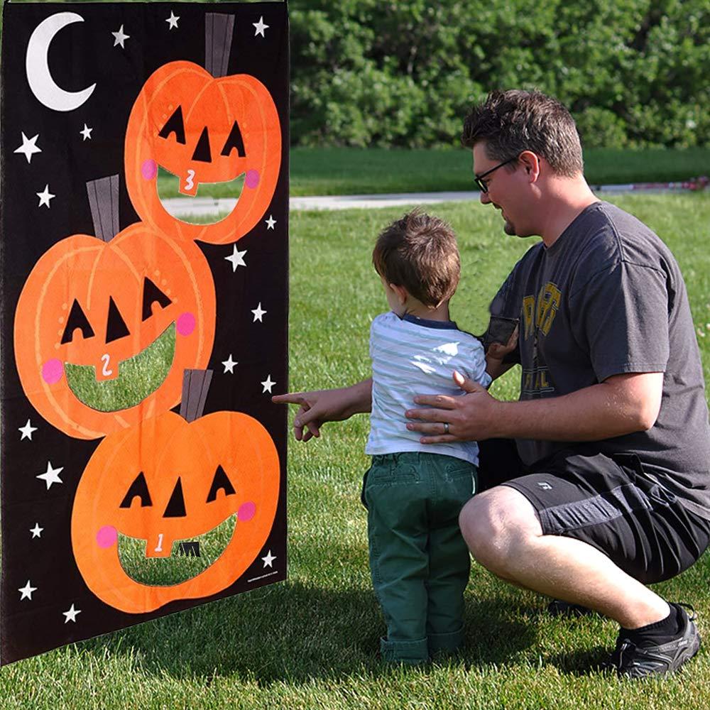 Threemart Halloween Pumpkin Bean Bag Toss Games for Halloween Games Kid Party Supplies Indoor and Outdoor Party Decorations