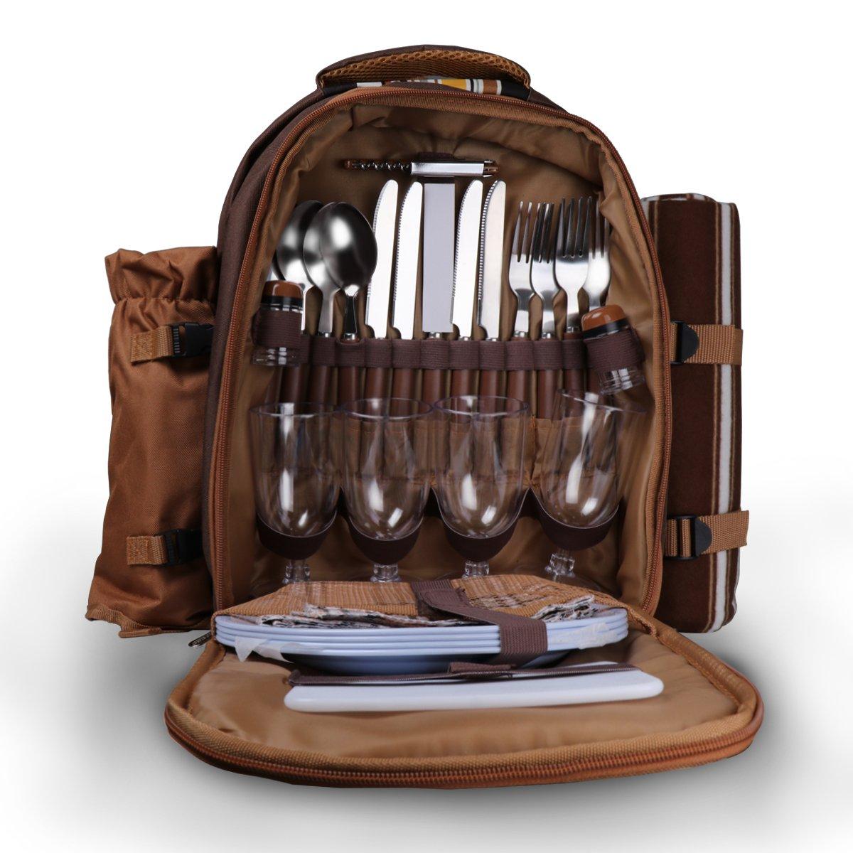 4 Person Picknick Rucksack, Konesky Picknick Rucksack Hamper mit Kühlerfach, Fleece Decke, Wein Kühltasche, Besteck und Teller - Braun