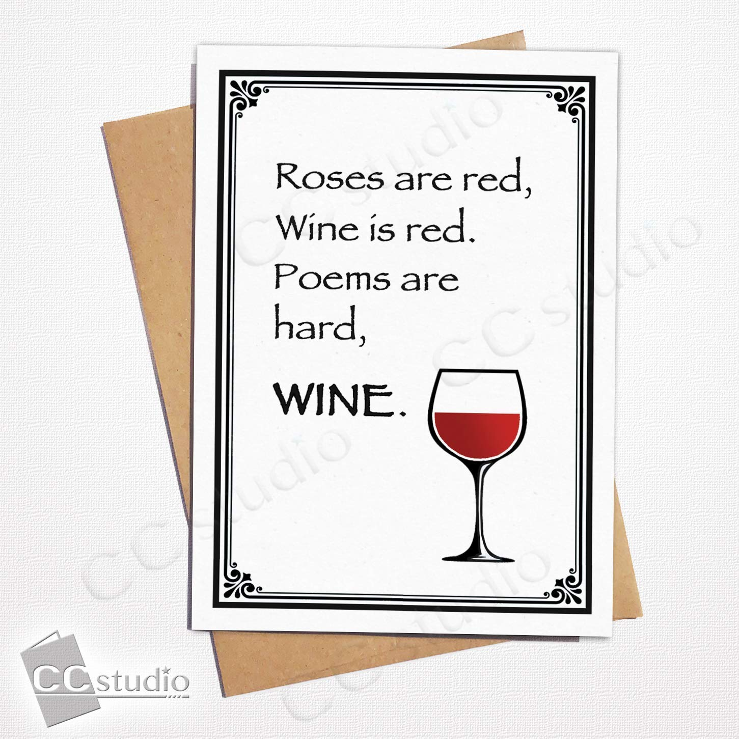 5x7 Greeting Cards A7 Size Funny Birthday /& Anniversary Cards Wine Lover 4-Pack Greeting Card Bundle