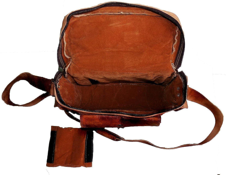 vintage handmade messenger Real Goat leather satchel shoulder bag for camera
