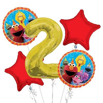 Sesame Street Elmo Balloon Bouquet 2nd Birthday 5 pcs - Party Supplies: Toys & Games