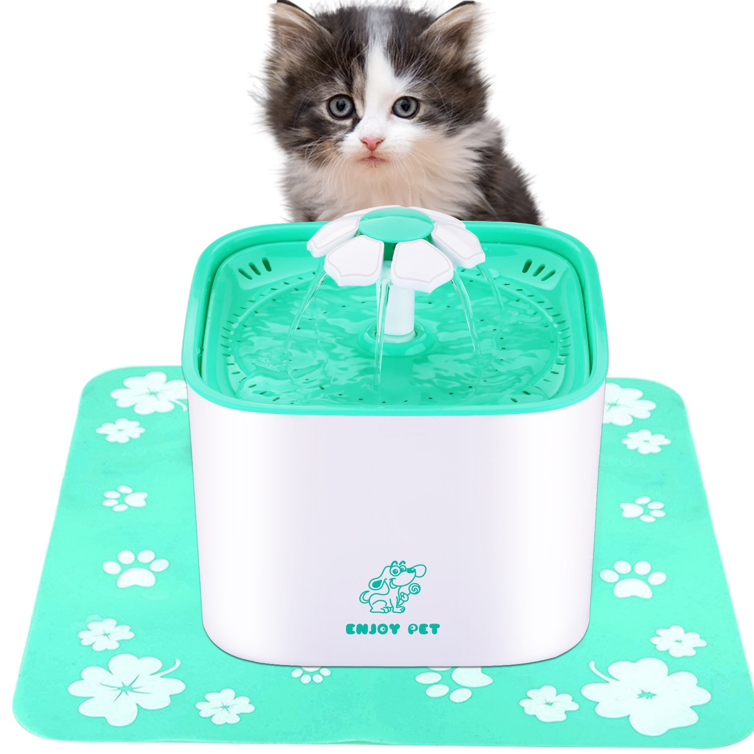Pet Water Fountain for Cat and Dog 2L Automatic Cat Water Dispenser with Filter and Silicone Anti-Skid Mat, Dog and Cat Fountain with Quiet Water Pump