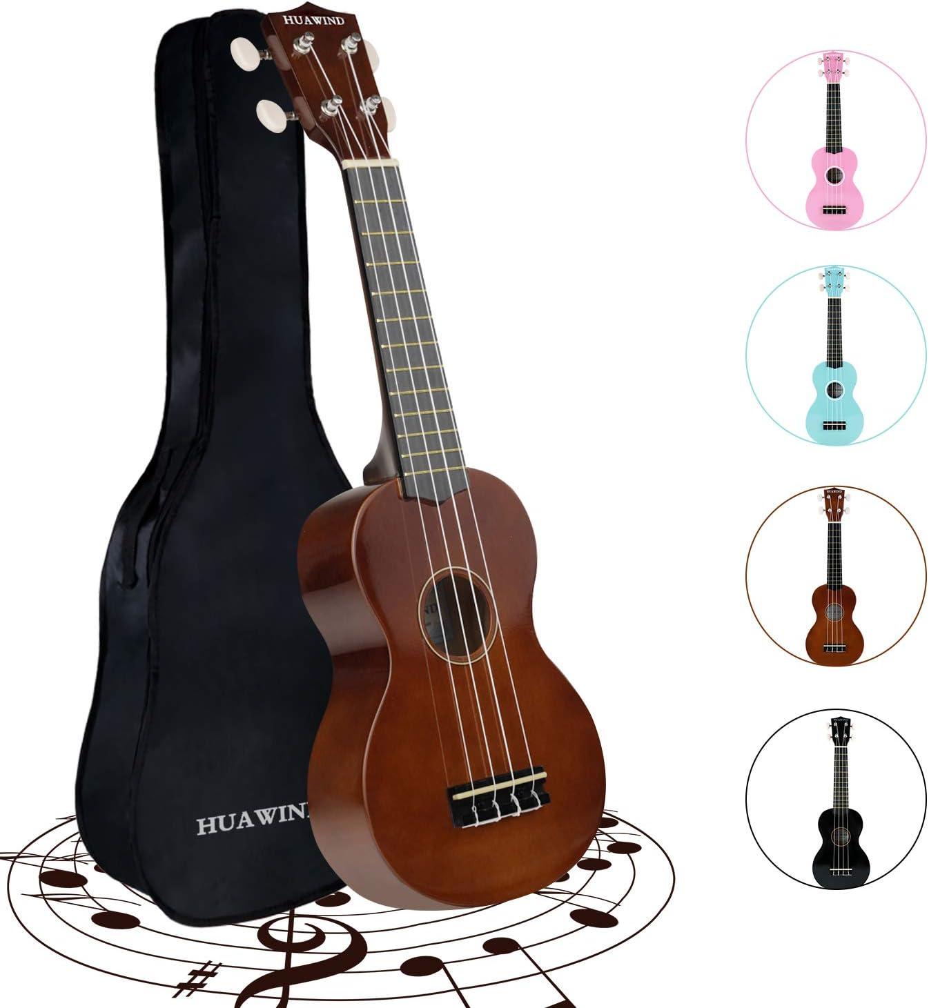 HUAWIND 21 Inch Soprano Ukulele for Beginners, Kid Guitar Four String Wood Children Ukulele with Gig Bag (Brown)