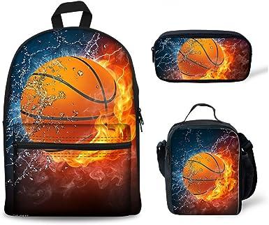 3pcs Burning Skull Kid;s School Bag Large Backpack Messenger Bag Pencil Case Lot