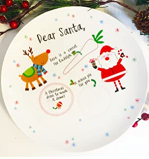 Personalised Christmas Eve Plate Santa And Rudolph Mince Pie Treats