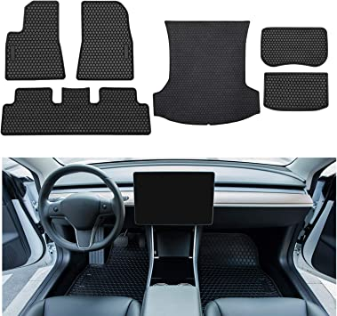 Yoursme All Weather Floor Liners Mats /& Front and Rear Trunk Cargo Protector Mats for 2017-2019 Tesla Model 3 Set Heavy Duty Flexible /& Eco-Friendly Waterproof Floor Protection Black 6PCS