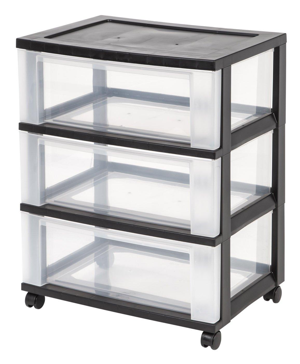 IRIS 3-Drawer Wide Cart, Black by IRIS USA, Inc.