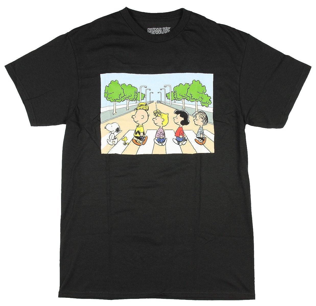 Peanuts Snoopy Charlie Brown Cartoon Mens Crosswalk Black T-Shirt