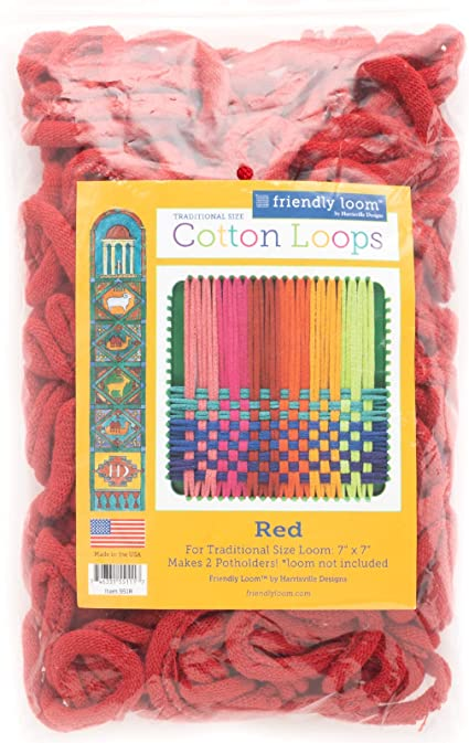 Friendly Loom Potholder Cotton Loops 7 Traditional Size Loops Make 2 Potholders Weaving Crafts for Kids and Adults-Salmon by Harrisville Designs