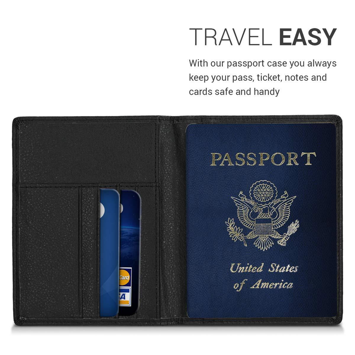 kwmobile Porte-Passeport avec Compartiments Cartes /Étui de Protection Simili Cuir Brun fonc/é-Beige Portefeuille Passeport avec Emplacement Carte Bleue