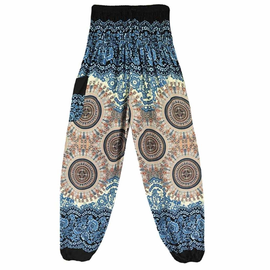Hunzed Women Yoga Pants, { Thai Harem Yoga Trousers } { Boho Festival Yoga Leggings } Casual { Hippy Smock Yoga Jumpsuit Harem Pants } For Ladies (White)