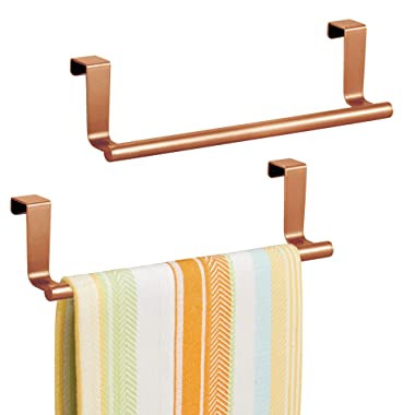 mDesign Decorative Kitchen Over Cabinet Towel Bar - Hang on Inside or Outside of Doors, Storage and Display Rack for Hand, Dish, and Tea Towels - 9  Wide, Strong Steel Design in Copper