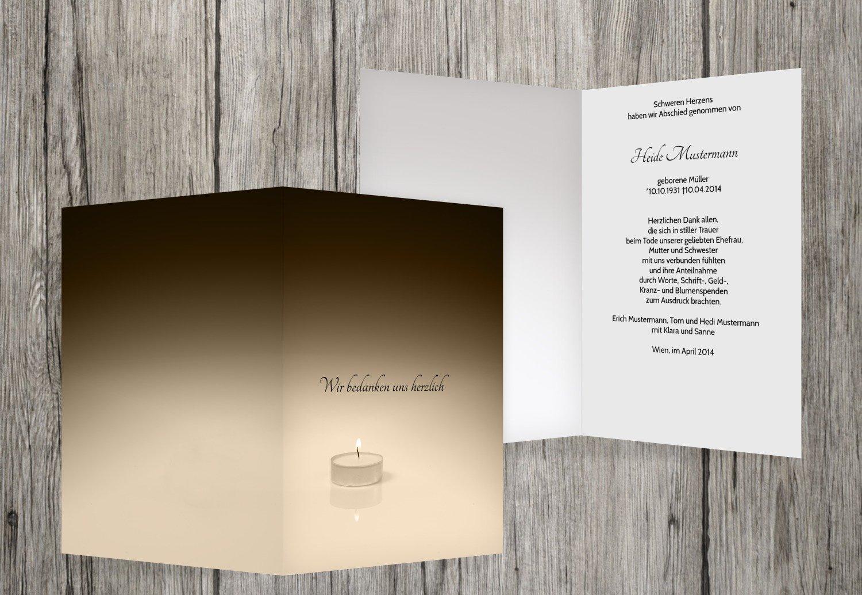 Tarjetas de agradecimiento luto té luz, beige, 40 Karten