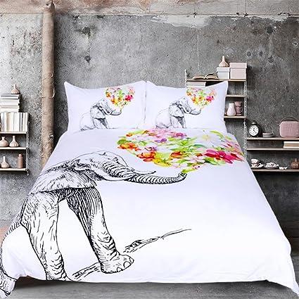 Amazoncom Sleepwish 3 Pcs Floral Elephant Duvet Cover Set Black