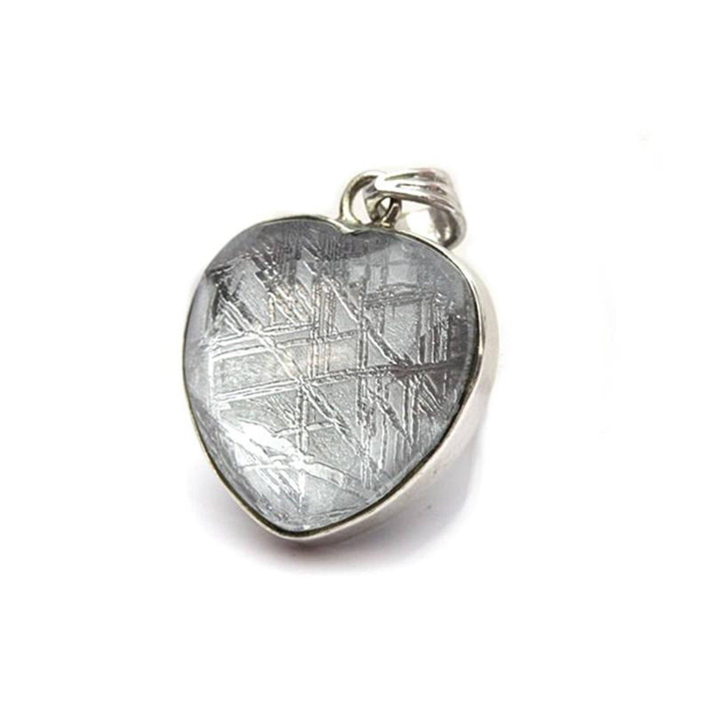 Genuine Natural Gibeon Iron Meteorite Love Heart Shape Silver Woman Mens Necklace Pendant