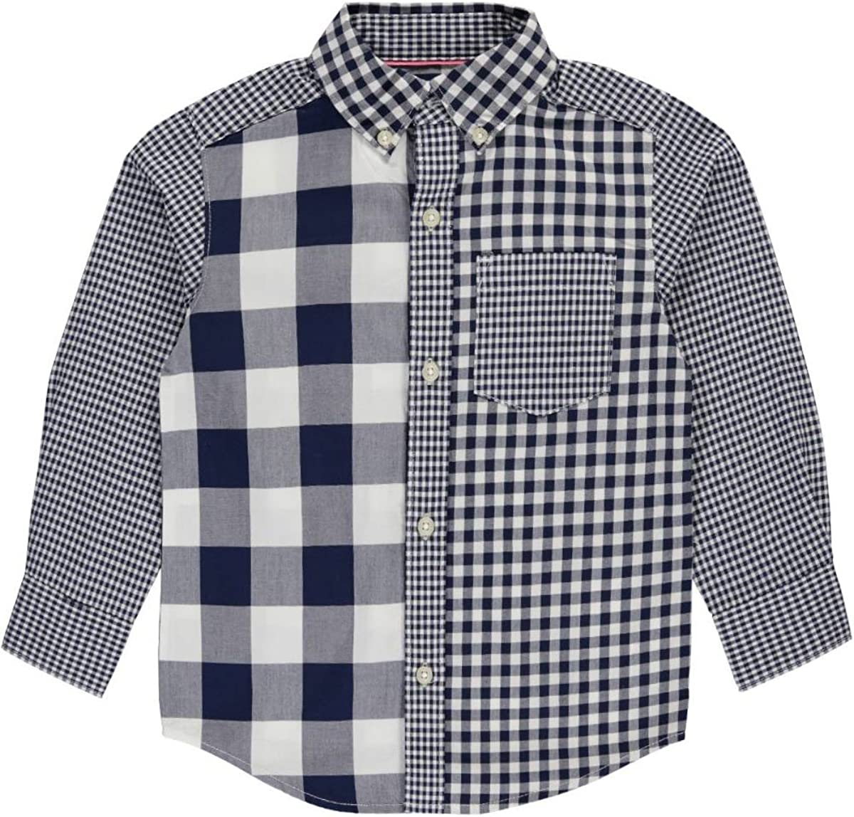 2t Carters Little Boys Toddler Multi-Check Button-Down navy