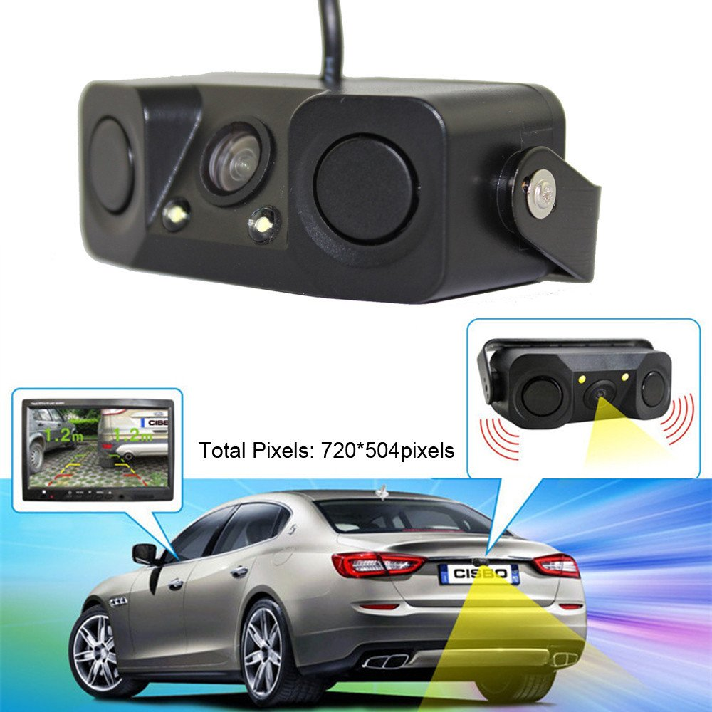 aobiny HD Webカメラナイトビジョンカメラモニター2led Car Rear View Camera withレーダー駐車場センサー B07BFX1WPJ