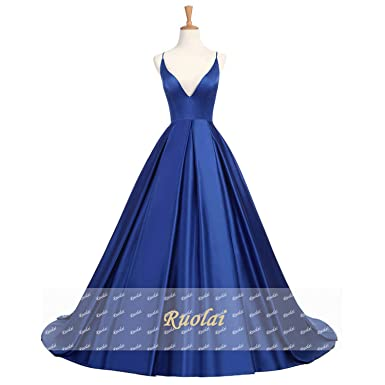 Womens Open Back Royal Blue Satin Evening Dresses Long A line Prom Dresses Party Dresses,
