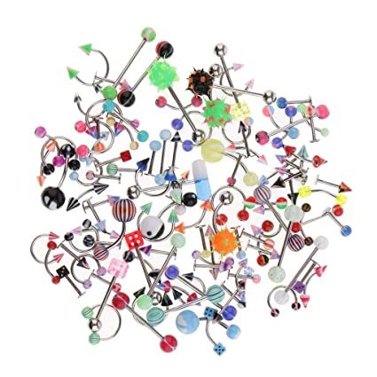 60pcs Stainless Steel Body Jewelry Tongue Lip Navel Belly Ring Set Assorted