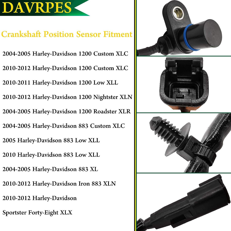 DAVRPES 32804-04B Crank Crankshaft Position Sensor For 2004-2005 /& 2010-2012 Harley XL Sportster 883 1200 Replace#32804 04B 3280404B