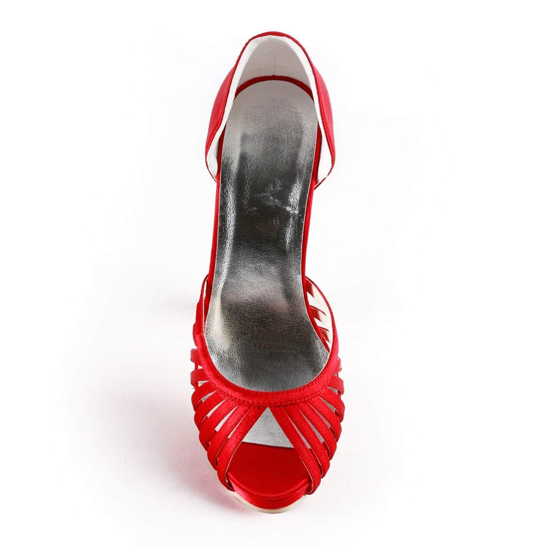 ZHRUI GYMZ690 Damen Cut-Out Satin Abend Abend Abend Party Prom Braut Hochzeit Schuhe Pumps Sandalen Flatfs (Farbe   rot-10cm Heel, Größe   7 UK) 3b4422