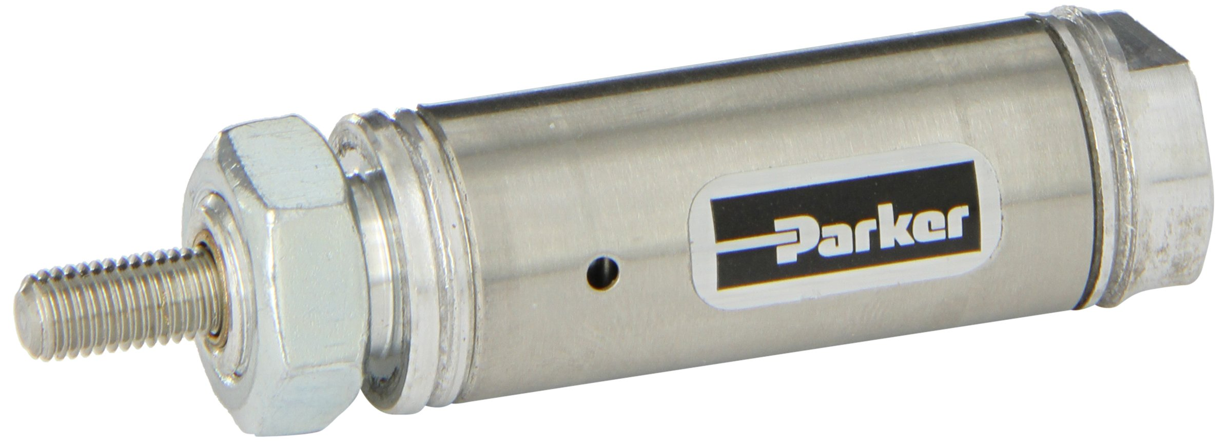 Parker .75NSR00.5 Stainless Steel Air Cylinder, Round Body, Single Acting, Spring Return, Nose Mount, Non-cushioned, 3/4 inches Bore, 1/2 inches Stroke, 1/4 inches Rod OD, 1/8'' NPT Port