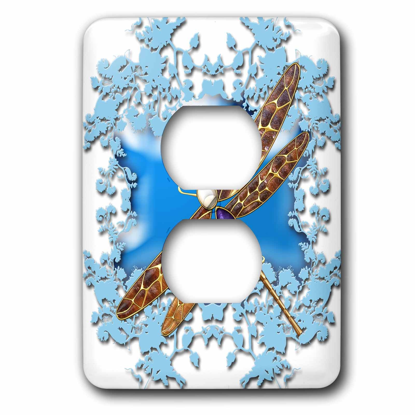 3dRose Fantasy - Dragonfly with patterned bronze wings , blue clouds - Light Switch Covers - 2 plug outlet cover (lsp_265969_6)
