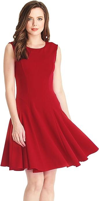 LookbookStore Vestido Swing Rojo con Falda de Vuelo Estilo ...