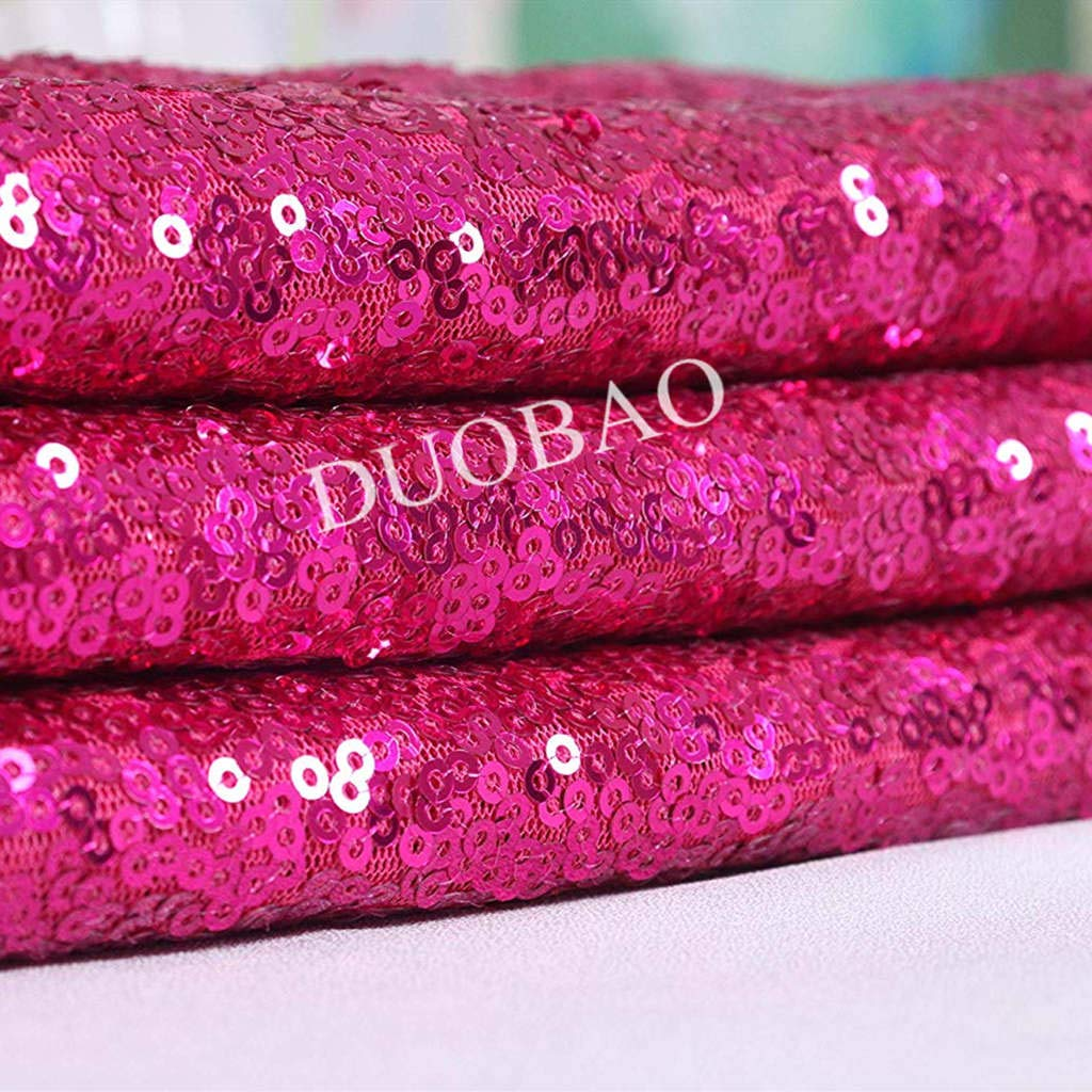 DUOBAO Fuchsia Sequin Fabric for Sewing Glitter Backdrop Fuchsia 10 Yards Sequin Material Fabric 2 Way Stretch Sequin Fabric by The Yard