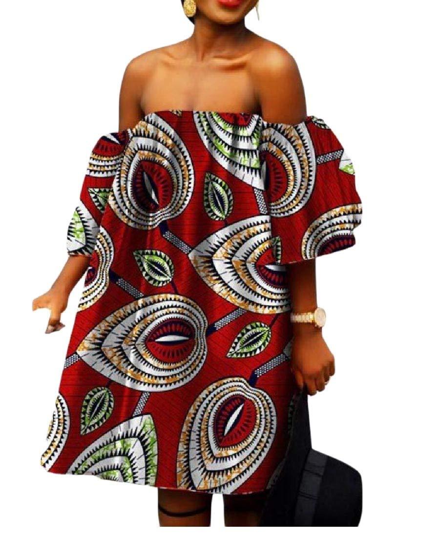 Women Big Pendulum African Print Shoulder Off Batik Sexy Gowns 1 5XL