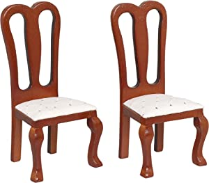 Inusitus Set of 2 Wooden Dollhouse Dining Chairs - Dolls House Furniture - 1/12 Scale (Medium Brown)