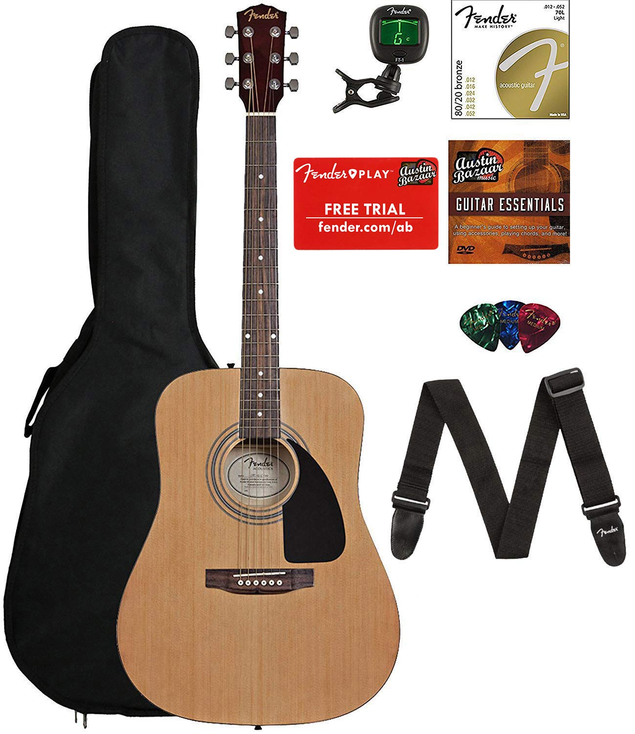 5b520bf71a7 Amazon.com: Fender FA-115 Acoustic Guitar Bundle with Gig Bag, Tuner,  Strings, Strap, Picks, and Austin Bazaar Instructional DVD: Musical  Instruments