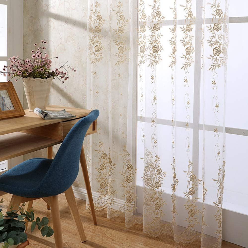 Beaded Pearl Emboss Embroidered Window Curtains Set Luxury European Voile Lace Sheer Curtains 2 Panels Grommet Ring Top Window Treatment Voile Drape Living Room Bedroom Balcony 84 Inch Long