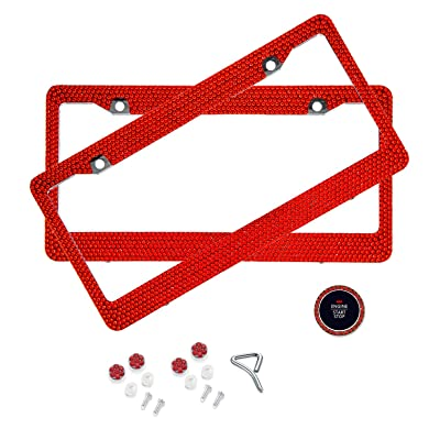 BLVD-LPF Red Crystal Rhinestone License Plate ABS Chrome Frame with Crystal Screw Caps - Set of 2 Frames: Automotive