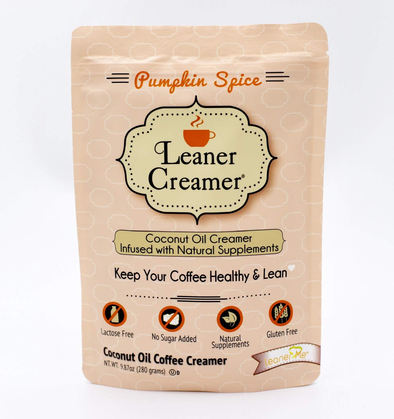 Leaner Creamer: Natural Coconut Oil Based Coffee Creamer - Pumpkin Spice - Limited Edition (280 Pouch)