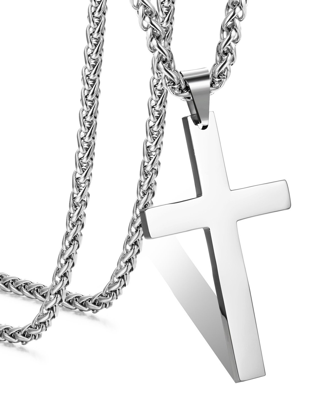 FIBO STEEL Stainless Steel Cross Pendant Wheat Chain Necklace for Men Women 24 Inches