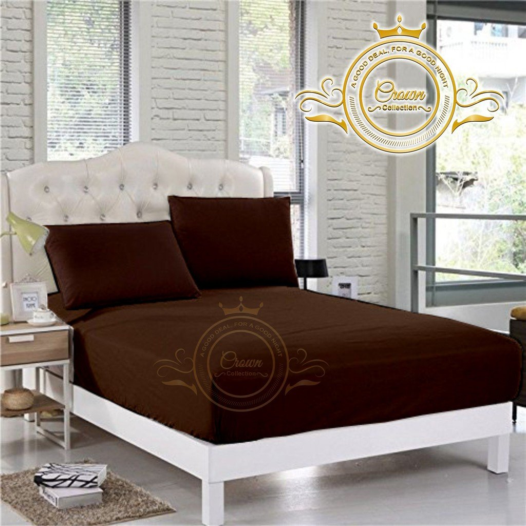 Crown Collection Hotel Beddings 600-Thread-Count 100% Egyptian Cotton 1 Piece Fitted Sheet With 10'' Deep Pocket Cal King Size Damask Solid, Brown